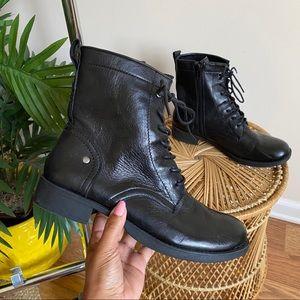 Nine West Black Leather Combat Boots 7